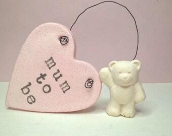 Mum to be gift, heart ornament, salt dough ornament, gift tag, keepsake.