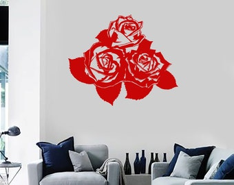 Wall Vinyl Decal Flower Roses Bouquet Ornament Yoga Studio Floral Modern Abstract Home Art Decor (#1240di)