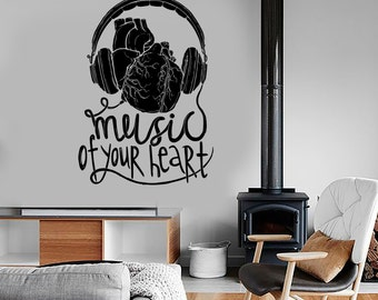 Wall Vinyl Music Headphones Listen To Your Heart Guaranteed Quality Decal Mural Art 1569dz
