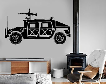 Wall Vinyl Armed Forces Land Vehicle Machine Gun Guaranteed Quality Decal 1626dz