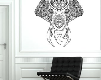 Wall Vinyl Elephant Tribal Animals Ornament Mural Vinyl Decal Sticker 1752dz