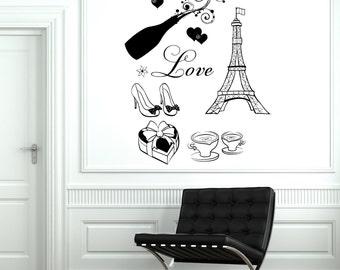 Wall Decal Paris Eiffel Coffee Champagne Candy Shoes Love Vinyl Decal Sticker 1817dz