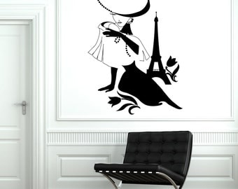 Wall Decal Paris France Eiffel Tower Sexy Girl Flower Vinyl Decal Sticker 1824dz
