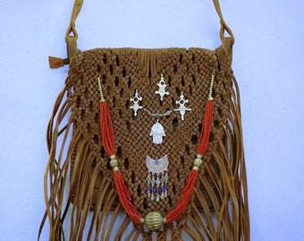 Boho Bag, Gypsy Bag, Brown Leather Bag, Fringe Bag, Tribal Bag, Crossbody Bag, Boho Fringe Purse, Hippie Bag, Bohemian Bag, Fringed Bag