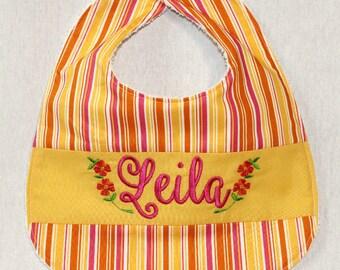 Custom Bib with baby name on Stripey fabric (Pink/Orange/Yellow)
