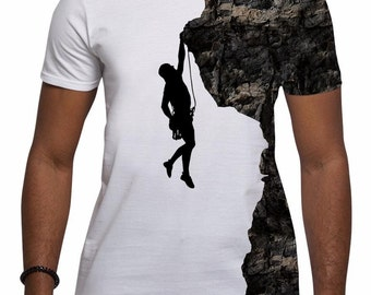 All Over Print Rock Climber Graphic T Shirt Silhouette Rock Climbing Sport Sublimation Trendy Cool Festival Fashion Gifts For Him