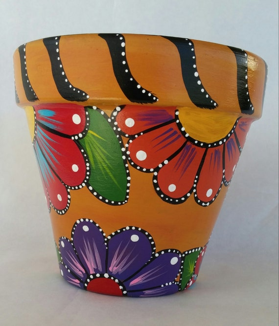 Ceramic Pot Designs Ideas: Painted Clay Pot Hand Painted Flowerpot Patio Decor Painted