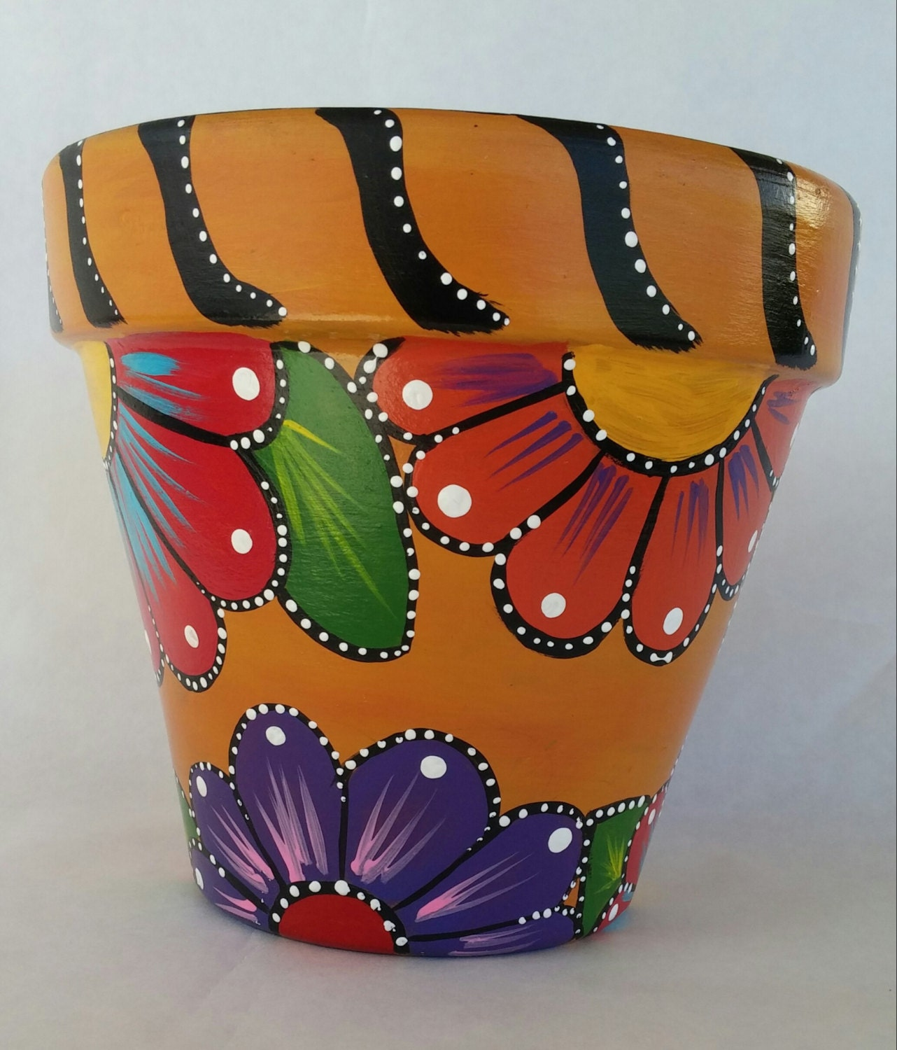 Painted Clay Pot Hand Painted Flowerpot Patio Decor Painted