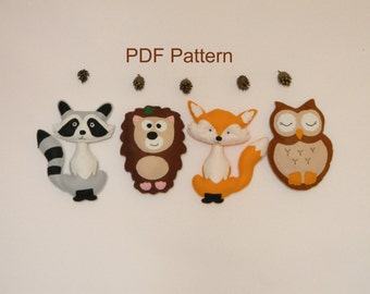Animal  felt PDF pattern, Felt Hand Sewing Fox Raccon Owl Hedgehog Plushie Pattern, Instant Download PDF