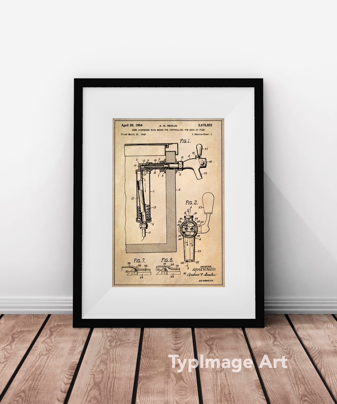 Beer Art Beer Tap Bar Art Beer Wall Art Patent Gift For