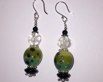 Martini Earrings with lampwork olive bead, flower, black onyx