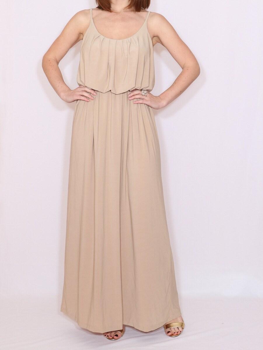 Beige Bridesmaid Dress Long Nude Dress Tan Maxi Dress