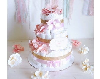 Baby Girl Gold & Coral Pink Diaper Cake / Baby Shower Centerpiece / welcome baby / flower Elegant princess / for gift / tulle / decoration