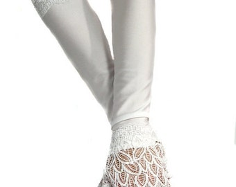 XX long white spandex fingerless gloves lace cuffs