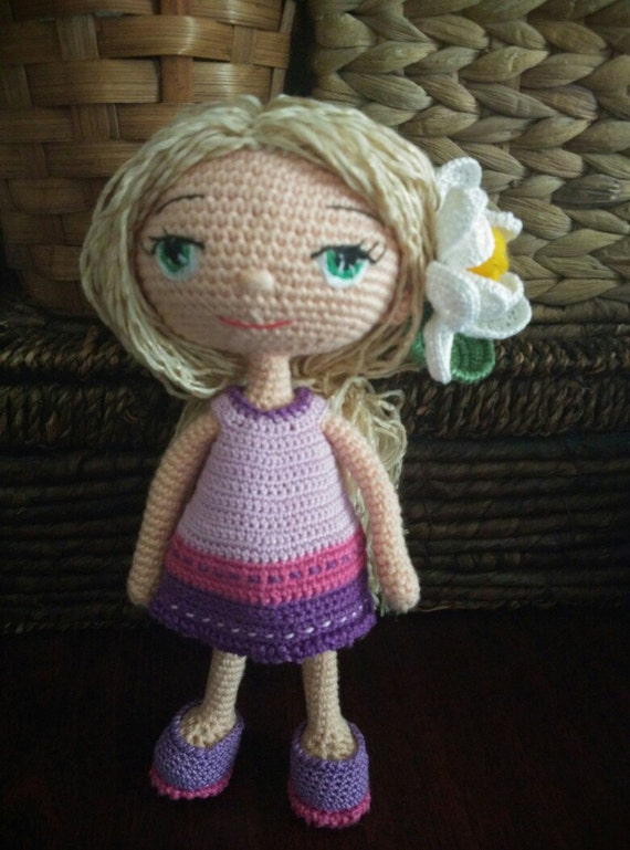 Amigurumi Flower Doll : Doll. Toy handmade. Amigurumi. Doll with flowers. Knitted toy.