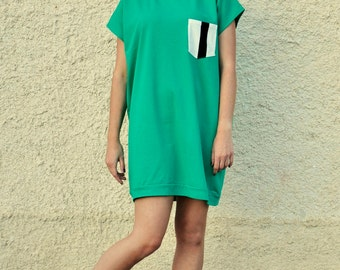 green oversized pique retro tunic