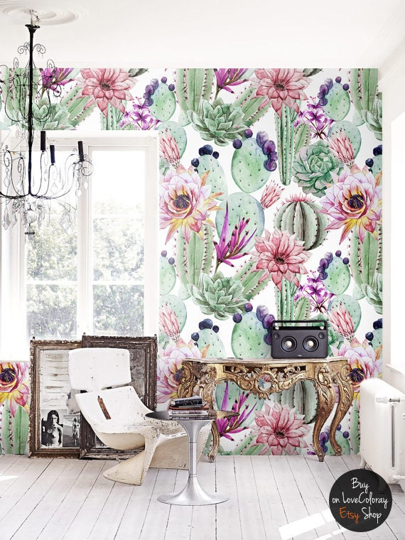 Watercolor Cactus Flowers Removable Wallpaper Cacti By