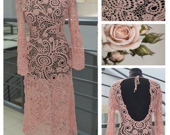 FREE SHIPPING! Delicate handmade lace, crochet dress.