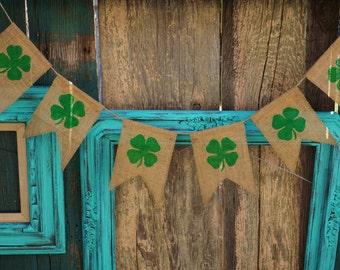 Shamrock Four Leaf Clover St. Patrick's Day Burlap Banner Garland