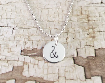 Ampersand necklace, trendy necklace, minimal necklace, silver plated ball chain necklace, fashion necklace, gift for her