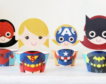 Superhero Cupcake Toppers Cupcake Wrappers Supergirl Party Decoration Girl Superhero Birthday Party Supplies Cupcake decoration, Set of 12