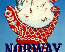 """Norway 16""""X20"""" Fun Gloves Snow Ball Skiing Ski Winter Sport in Norge Europe  Vintage Poster Repro Paper or Canvas FREE SHIPPING in USA"""