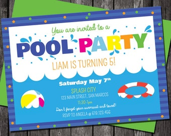 printable pool party invitation pool party birthday pool party invitation boygirl - Birthday Pool Party Invitations