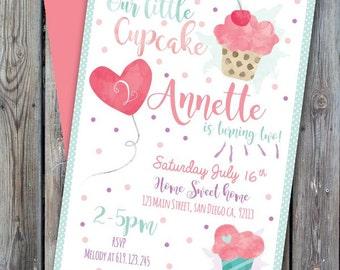 Printable cupcake birthday invitation, sweet invitation, girl cupcake party, little cupcake birthday, birthday girl, first birthday girl