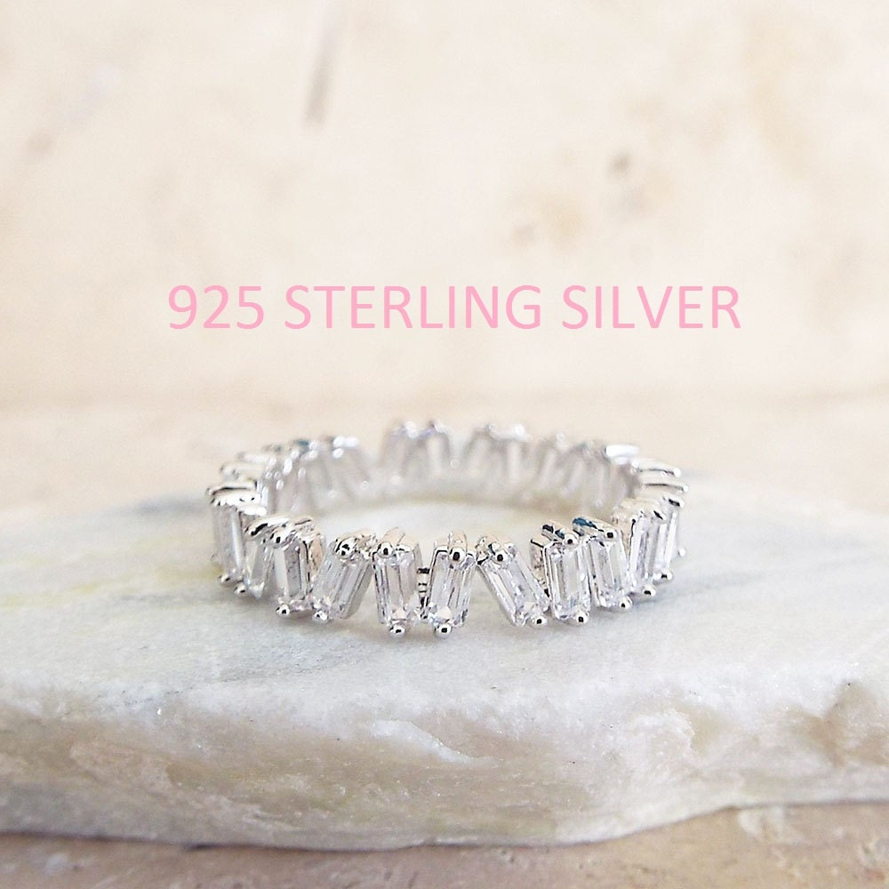 CZ Diamond Baguette wedding Band White gold sterling silver CZ diamonds 4 mm Sterling Silver ring unique eternity white gold wedding band