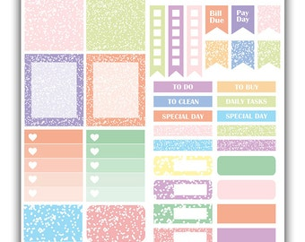 Confetti weekly stickers kit   Themed weekly kit   Erin Condren vertical theme weekly kit   Weekly planner stickers