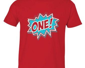 Superhero Birthday shirt - first (1st, 2nd, 3rd, 4th) birthday superhero shirt - boys superman, superhero birthday shirt RED