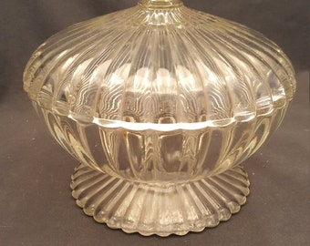 Vintage Glass Candy Dish with Lid Heavy Round Circle Trinket Bowl