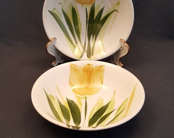 Set of 2 Vintage Bowls Westwood Ironstone Handcrafted in Japan Yellow Tulip