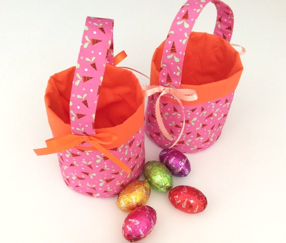 Pink & Carrot, Circular Easter Baskets, Quality Hand Made, 16cm x 15cm Approx.