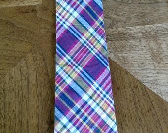 Vintage 1980s Preppy Madras Necktie/ Davidson's of Western VA Preppy Tie/ Red Blue Yellow and White Plaid/ Madras Plaid