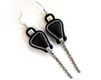 SALE Black earrings soutache earrings black sparkle earrings black soutache silver dangle & drop earrings glam earrings