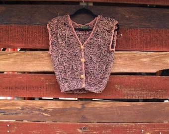 Vintage 1970s Hand Knit Rico International Sweater Cardigan Vest Thailand