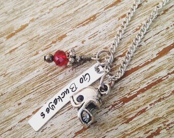 Go Buckeyes OR Go Dawgs hand stamped pendant necklace / football helmet charm / Ohio State Buckeyes / GA Bulldogs / Football team jewelry