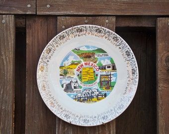 New Mexico souvenir plate, New Mexico display plate, New Mexico wall plate, 1970s display plate, state wall plate, state display plate