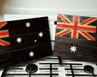 Rustic charred wooden Australian Flag