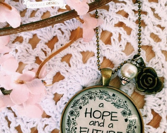 Jeremiah 29:11 Necklace - Vintage Brass or Antique Silver Necklace, Scripture Necklace