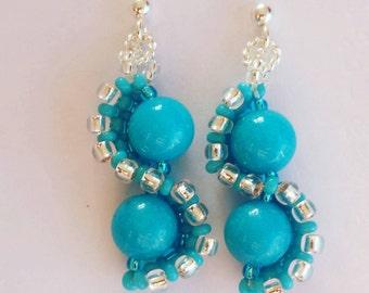 Blue Earrings, Blue Jade Earrings, Handmade Earrings, Sterling Silver Blue Earrings, Jade jewelry, Blue Gemstone Earrings, Jade Gemstone