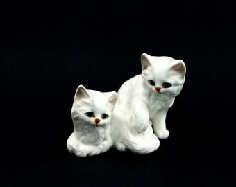 Vintage Lefton cat figurine - Two kittens, ceramic/porcelain, H3728, pair, antique cat, white persian