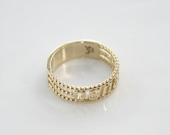 Name ring gold, Engraved gold ring, Custom gold ring, Personalized gold ring, Solid 14k gold ring, Personalized name ring, Anniversary ring