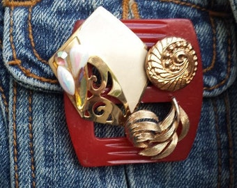 Vintage Red and Gold Scarf/Jacket/Sweater Pin~Upcycled Red Slide, Gold-Tone Vintage Jewelry and Gold Glass Button Brooch Pin