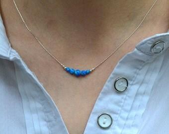 OPAL NECKLACE // Opal Charm Necklace - Dark Blue Opal Ball Necklace - Single Bead Necklace - Tiny Opal Bead Necklace - Opal Drop Necklace