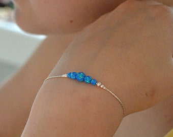 OPAL BRACELET // Opal Charm Bracelet - Dark Blue Opal Ball Bracelet - Single Bead Bracelet - Tiny Opal Bead Bracelet - Opal Drop Bracelet