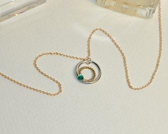Emerald Necklace // Emerald Pendant - Drop Charm Necklace Gold - Drop Necklace - Emerald Jewelry - Minimalist Necklace