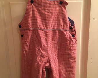 9 month, Vintage Classic Baby Clothes, Red Gingham Checked Shortall with Blue Checked Trim