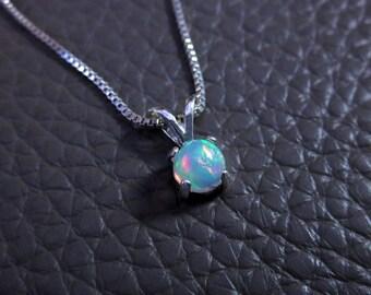 Opal Pendant, Opal Necklace, Opal Jewelry, Round Opal Pendant, Pendant Necklace, Elegant Necklace, Delicate Necklace, Dainty Pendant